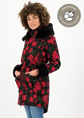 Wintercoat trot the fox, ornate roses, Jackets & Coats, Black