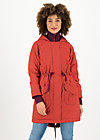 Winter Parka winter woods, red stars, Jackets & Coats, Red