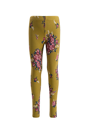 tausendschön legs, flower for womans, Leggings, Gelb