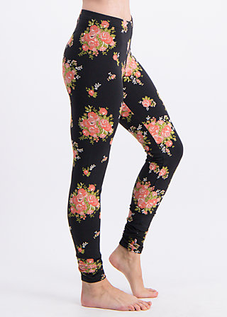 walking on flowers legs, flower for power, Leggings, Black
