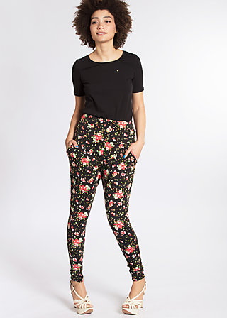 sunset lovers pantalons, french fleur, Cloth pants, Schwarz