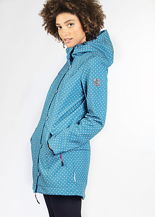 wild weather long anorak, little dots, Softshell, Blau