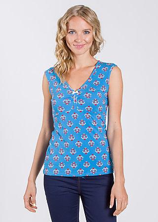 frontluke toplet, blue blommor, Shirts, Blau