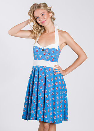 liebchen an bord neckdress, blue blommor, Dresses, Blau