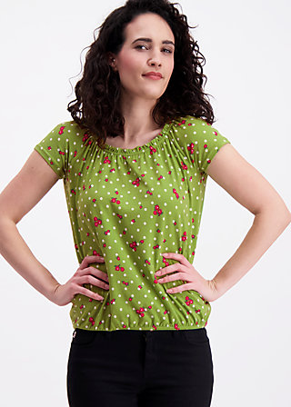 will you still love me shirt, sweet flower dots, Kurzarm, Grün