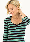 breton heart tee, black graphite stripes, Shirts, Schwarz