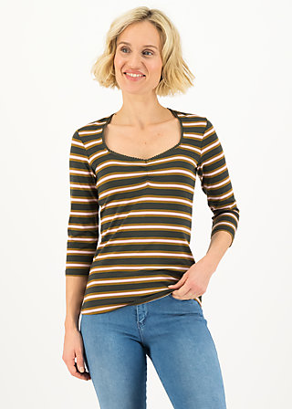 breton heart tee, forest night stripes, Shirts, Brown