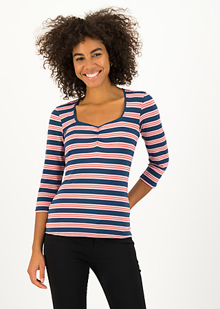 breton heart tee, majolica blue stripes, Shirts, Blau