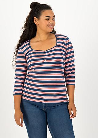 breton heart tee, majolica blue stripes, Shirts, Blau