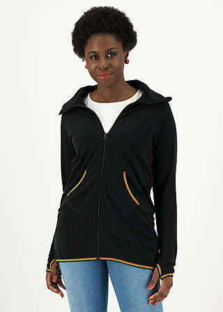 Fleecejacke extra layer hooded, uni black, Jacken & Mäntel, Schwarz