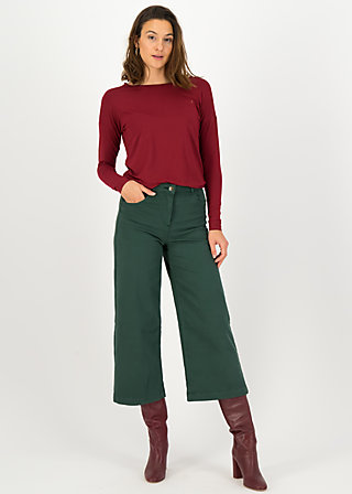 logo high waist culotte, green denim, Trousers, Green