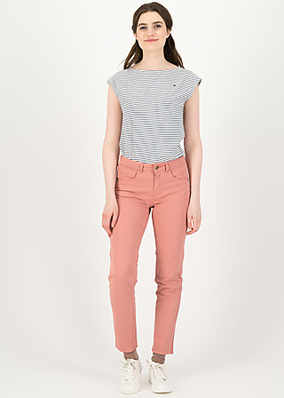 logo mid waist 5-pocket pants, old rose, Trousers, Pink