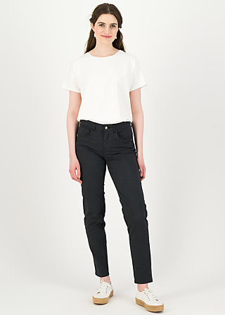 logo mid waist 5-pocket pants, total moonless, Trousers, Blue
