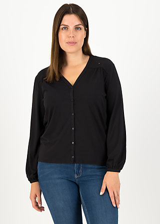 logo romance blouse, misty black, Shirts, Schwarz