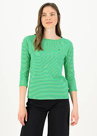 logo stripe 3/4 arm shirt, green tiny stripe, Shirts, Green