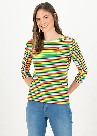 logo stripe 3/4 arm shirt, rainbow tiny stripe, Shirts, Blue
