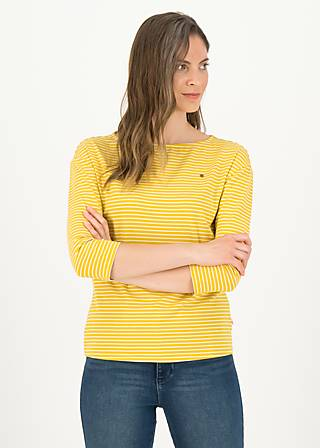 logo stripe 3/4 arm shirt, yellow tiny stripe, Shirts, Gelb