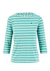 logo stripe 3/4 sleeve shirt, stripe of aqua, Shirts, Türkis