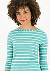 logo stripe 3/4 sleeve shirt, stripe of aqua, Shirts, Turquoise