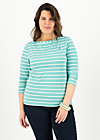 logo stripe 3/4 sleeve shirt, stripe of aqua, Shirts, Türkis