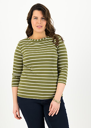 logo stripe 3/4 sleeve shirt, stripe of nature, Shirts, Green