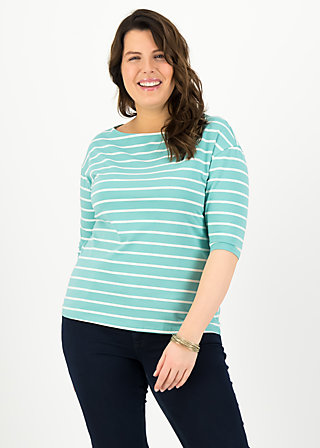 logo stripe halfsleeve, stripe of aqua, Shirts, Turquoise