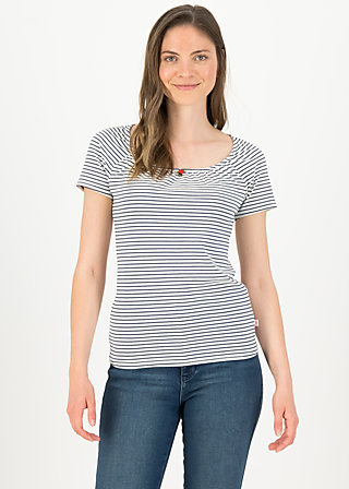 logo stripe heart t-shirt, blue tiny stripe, Shirts, Blau