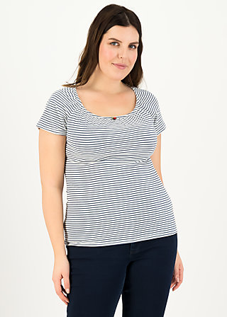 logo stripe heart t-shirt, blue tiny stripe, Shirts, Blau