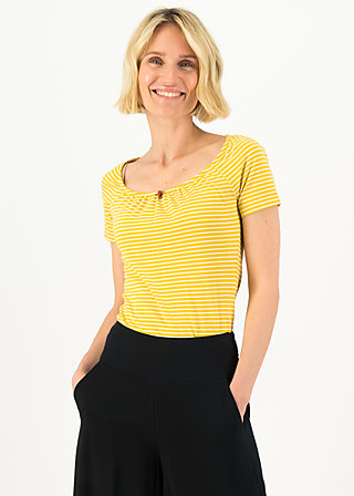 logo stripe heart t-shirt, yellow tiny stripe, Shirts, Yellow