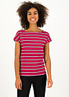 logo stripe t-shirt, morning glory stripes, Shirts, Red