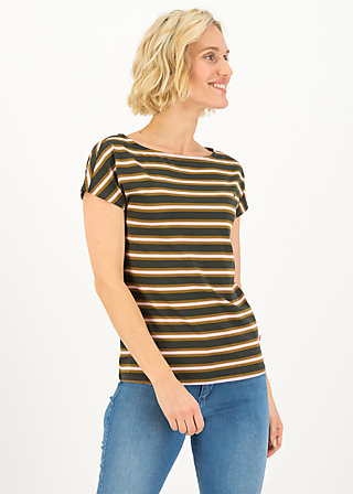 logo stripe t-shirt, forest night stripes, Shirts, Brown