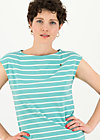 logo stripe top, stripe of aqua, Shirts, Turquoise