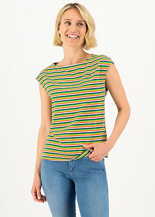 logo stripe top, rainbow tiny stripe, Shirts, Blau