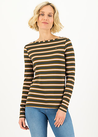 logo striped longsleeve shirt, forest night stripes, Shirts, Braun