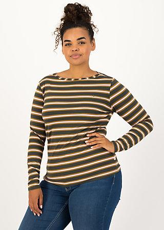 logo striped longsleeve shirt, forest night stripes, Shirts, Braun