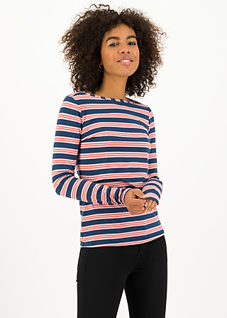 logo striped longsleeve shirt, majolica blue stripes, Shirts, Blue