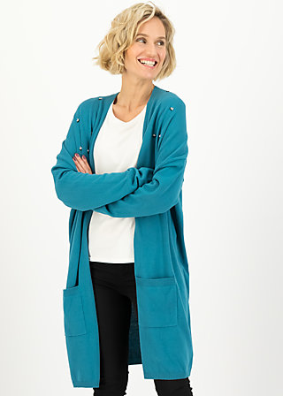 rosebud long cardy, romantic dusty blue, Pullover & leichte Jacken, Blau