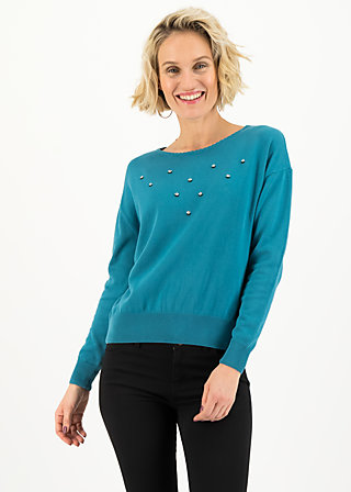 Strickpullover rosebud, romantic dusty blue, Cardigans & leichte Jacken, Blau