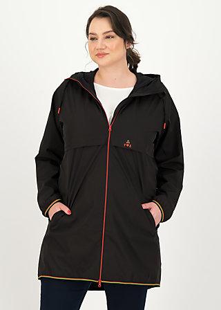 Windbreaker Wetterjacke windbraut long, deep black, Jackets & Coats, Black