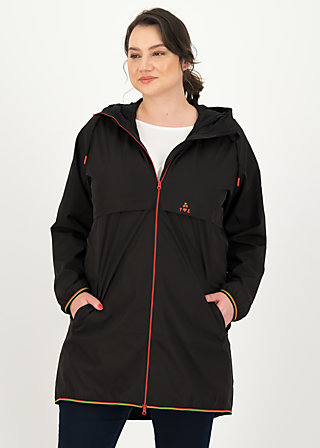 Windbreaker Wetterjacke windbraut long, deep black, Jackets & Coats, Black