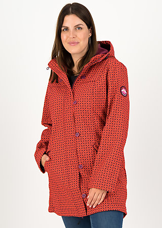 Soft Shell Parka wild weather long anorak, red stars, Jackets & Coats, Red