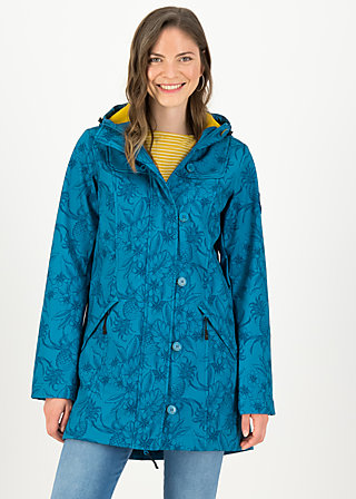 Soft Shell Parka wild weather long anorak, tropical shades, Jackets & Coats, Turquoise