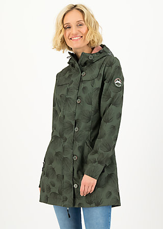 Soft Shell Parka wild weather long anorak, whispering leaves, Jackets & Coats, Green