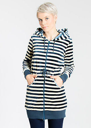 longdistance velvet longzip, stripe the sky, Zipperjacken, Blau