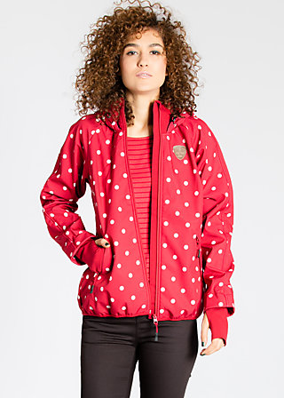 cosy rainstorm survival zip, framboise dots, Jacken, Rot