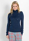 logo knit turtle, rain air ajour, Pullover, Blau