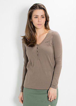 logo longsleeve v-shirt, maroon mushroom, Shirts, Braun