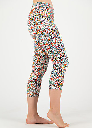 Cropped Leggings happy holiday, fine flower, Leggings, White