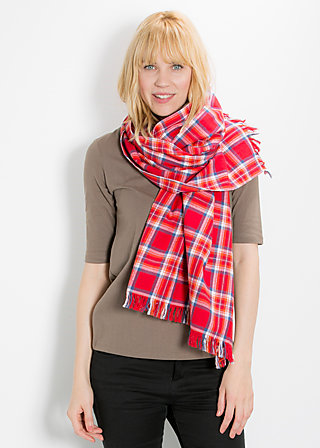 flying tartan scarf, around the check, Tücher, Rot