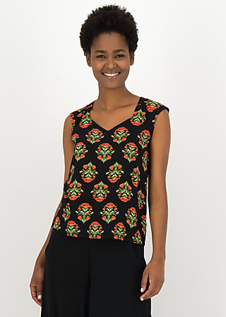 Viscose Top burning heart, laatste lieve, Shirts, Black